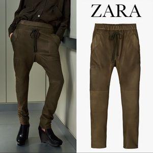 ZARA 100% LEATHER JOGGING PANTS SRPLS XS